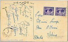 59605 - AUTOGRAFO - CALCIO - Cartolina firmata dalla squadra U21  Italiana 1951