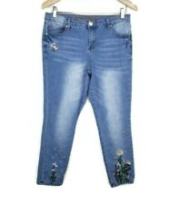 One Republic For All Embroidered Denim Floral Capri Pant Size 8