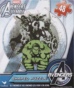 "Jigsaw Puzzle AVENGERS ASSEMBLE - Shaped 48 pieces 9"" x 10"" Marvel S4"