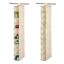 Beige 10 Shelf Hanging Shoe Storage Rack Holder Stand Organiser Wardrobe Unit