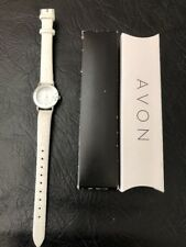 Avon Genuine Diamond Watch White Leather Strap Band Round Ladies New in Box
