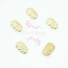 20 Hollow Rose Flower Design Metallic Nail Art Jewelry Tips Wraps Alloy Charms