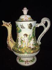 "R. Capodimonte Vintage Coffee Tea Pot Dragon Spout w/ Cherubs 10 1/2"" Rare"