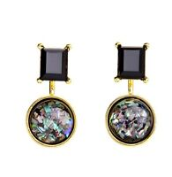 Very unusual removable black pendulum earrings with seashell chips