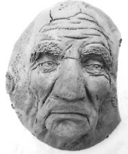 """8"""" Home Decor Wall Sculpture, Wise Old Moon Man, Handmade by Claybraven"""
