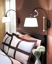 Black Adjustable Wall Lamp Metal Light Fixture Classic Vintage Look White Shades
