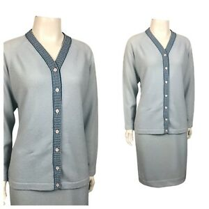1960s Sweater Dress Set / Two Tone Blue Button Up Sweater and Skirt M/L