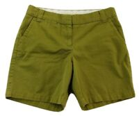 J Crew Chino Womens Classic Twill Shorts Sz 6 Small OLIVE GREEN Cotton City Fit