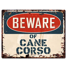 PPDG0090 Beware of CANE CORSO Plate Rustic TIN Chic Sign Decor Gift