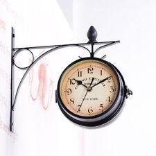 Bahnhofsuhr Retro Wanduhr Küchenuhr Uhr Quarz Vintage Antik Zweiseitig DHL