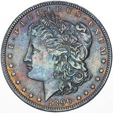 1896-P MORGAN SILVER DOLLAR BU VIBRANT ORANGE BLUE COLOR TONED GEM UNC (MR)