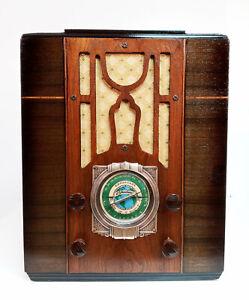 Old Antique Wood Silvertone Vintage Tube Radio - Restored Working Deco Tombstone
