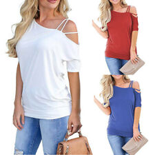 Summer Womens Casual Half Sleeve Oblique Shoulder T Shirt Solid Loose Blouse