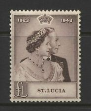 St Lucia KGV £1 Silver Wedding Stamp Mounted Mint