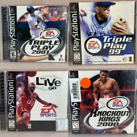 PS1 - 4 Games Triple Play 99 2001 ,NBA 98, Knockout 2000 PlayStation One-Tested