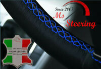 LEATHER STEERING WHEEL COVER FOR MITSUBISHI L200 WITH BLUE DOUBLE STITCHING