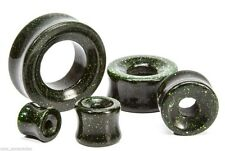 "PAIR-Glass Goldstone Green Double Flare Ear Tunnels 19mm/3/4"" Gauge Body Jewelry"