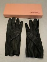 Vintage GLOVES ladies CHRISTIAN DIOR SIZE 7 1/2 MAGNIN & Co. retro pin-up Black