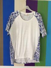 OROTON Womens Blouse 14 T-shirt White Blue top tee Shirt Short Sleeve cotton M