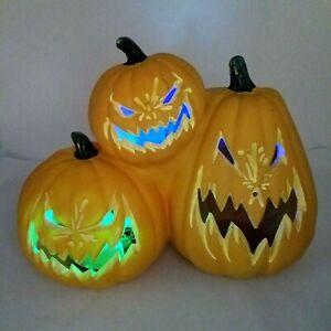 Gemmy Halloween Jack-O-Lantern 3 Pumpkins Blow Mold Colorful Light Up Sounds
