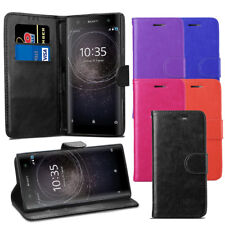 For Sony Xperia XA2 Case - Premium Leather Wallet Flip Case Pouch Cover + Screen