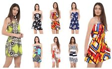 Women Ladies Bardot Off Shoulder Boobtube Printed Short Mini Jumpsuit Playsuit
