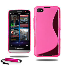 For Blackberry Z30 Grip Wave S Line Gel Case Soft Phone Cover + Screen + Stylus