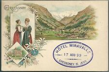 1899ca GRESSONEY cartolina Costumi Valle d'Aosta timbro Hotel Miravalle