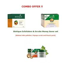 Biotique Walnut skin polisher, Papaya scrub and Peach pack Combo offer