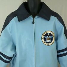 First Down Aviation Leather Bomber Jacket Racing Flight Wings Blue Mens XL EUC