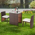 3pcs Outdoor Patio Rattan Furniture Set Space Saving Garden Deck W/cushion