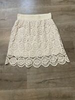 Papillon Floral Lace Lined skirt Size Medium Ivory Off White Scalloped Hem