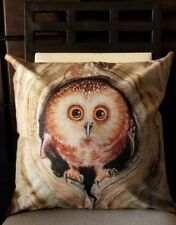 """Pretty Cute Pygmy Owl In Knot Hole of Tree Linen Throw Pillow Cover 18"""" US SLR"""