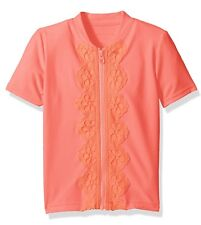 NEW! Girls SEAFOLLY Zip Rashie Short Sleeve Rash Guard, Size 3T, Wmelonpink