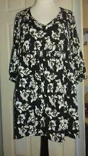 Ladies Tunic Dress Sz 18 Very Black & White