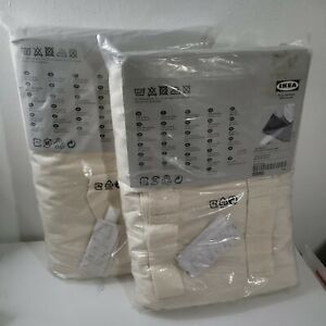 IKEA Curtains Drapes BOMULL Unbleached Cotton Tab Top 57 X 98 Oatmeal (lot of 2)