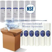 "6 Carbon Block Filters 6 Sediment Filters NSF 5Micron 2.5X9.75"" Standard Filters"