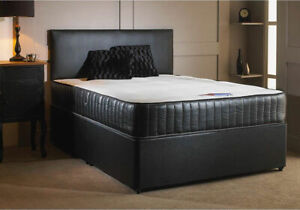 Faux Leather Divan Bed + Mattress Option + Headboard   All Sizes   Colour option