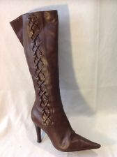 Faith Brown Knee High Leather Boots Size 4