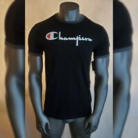 CHAMPION TSHIRT MEN'S CREW NECK SHORT SLEEVE SCRIPT LOGO DESIGN SIZE M BLACK