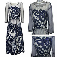 MONSOON Navy Charlie Lace Beaded Flowery Tulle Cocktail Party Dress 12 EU 40