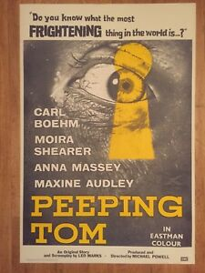 Peeping Tom 1960 Original British Horror Film Poster Anna Massey
