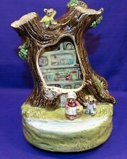 Otagiri Music Box Bear Family Living In A Tree House Plays It'S A Small World