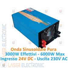 Power Inverter 3000W max 6000W Onda Sinusoidale Pura da 24V DC a> 220-230V AC