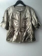 KOOBA Italian Leather Jacket Blazer Metallic Bronze 3/4 Sleeves SM / MED  $695