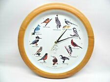 "Vtg Audubon Society Bird Clock w Bird Song 13"" Dia x 2"" D"