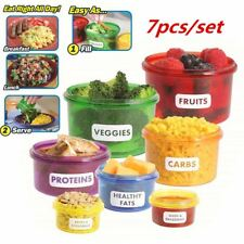7Pcs Mini Meal Prep Perfect Portions Control Food Storage Containers Box Case