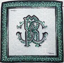 NWT Authentic ROBERTO CAVALLI RC Logo & Animal Print 100% Silk Scarf Foulard