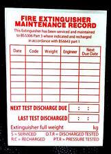 5 x ESTINTORE etichette di manutenzione 75mm x 100mm Adesivo Vinile Gratis P&P