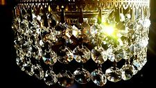 30 Vintage Chandelier Crystals  Octagon Prisms  10 Strings   Bowtie connection